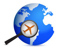 Plane in magnifier on planet. Background illustration design Stock Images