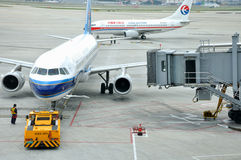 Plane maintenance in Shanghai Hongqiao Airport Stock Photography