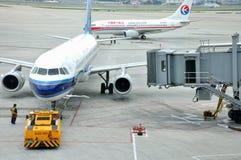 Plane maintenance in Shanghai Hongqiao Airport Stock Photography