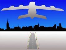 Plane and Manhattan skyline Stock Photos