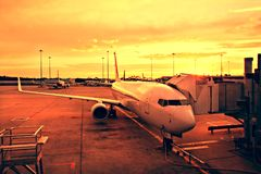 Plane at Melbourne Airport Stock Photography
