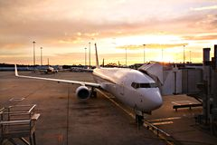 Plane at Melbourne Airport Terminal Royalty Free Stock Images