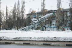 The plane (MiG-21) monument in VORONEZH, RUSSIA Stock Photography