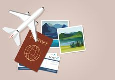 Plane model with travel instant photographs, passports and tickets. Travel concept. Vector Illustration vector illustration