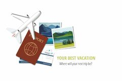 Plane model with travel instant photographs, passports and tickets on white background. Travel concept. Vector Illustration vector illustration