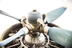Plane Motor with Propeller. Close up Royalty Free Stock Photos