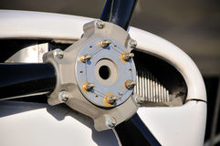 Plane Motor with Propeller. Up front engine aircraft with black propeller royalty free stock images