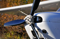 Plane Motor with Propeller. Up front engine aircraft with black propeller stock image