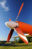 Plane Motor with red Propeller Stock Photos