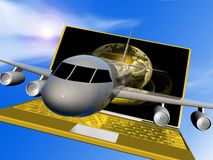 Plane and netbook Royalty Free Stock Images