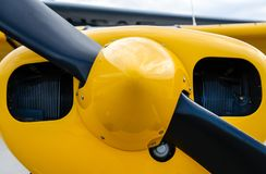 Plane nose showing propellers very colorful stock photo