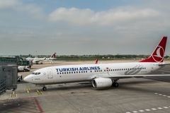 Free Plane Of Boeing 737-800 Of Turkish Airlines,  Taxing At Vaclav Havel Airport Prague, Czech Royalty Free Stock Photography - 160957227