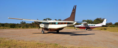 Plane in the okavango delta. The Okavango Delta in Botswana is a very large, swampy inland delta formed where the Okavango River reaches a tectonic trough in the Stock Images