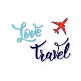 Plane and original handwritten text Love Travel Stock Image