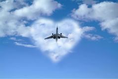 Plane out of heart cloud Royalty Free Stock Photos