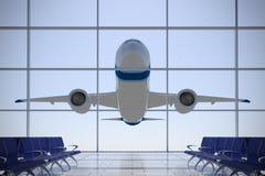 Plane over airport terminal Stock Photo