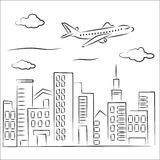 Plane over the city. Sketch of Plane over the city Royalty Free Stock Images