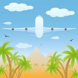 Plane over desert. White plane fly over desert and palms, illustration Royalty Free Stock Images