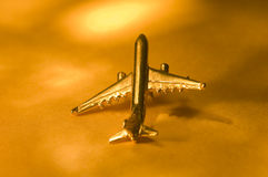 Plane Over Golden Light Royalty Free Stock Photo