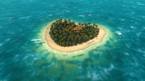Plane over the heart-shaped island