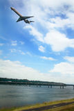 Plane Over I-205 Bridge to Government Island Stock Photography