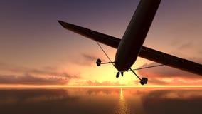 Plane over the ocean. Stock Photo