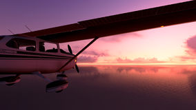 Plane over the ocean. Royalty Free Stock Photo