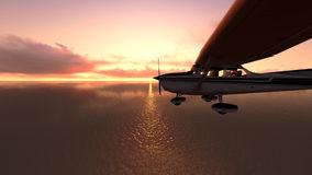 Plane over the ocean. Royalty Free Stock Photography