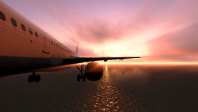 Plane over the ocean. Stock Image
