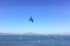 Plane over the sea. Royalty Free Stock Images
