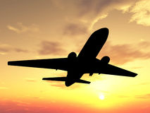 Plane over sunset. Silhouette of airplane over sunset Royalty Free Stock Photos