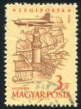 Plane over Tower of Sopron. HUNGARY - CIRCA 1958: stamp printed by Hungary, shows Plane over Tower of Sopron, circa 1958 Stock Image