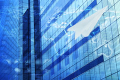 Plane paper with financial chart on tower. Plane paper with financial chart on city tower, Global success business concept, Elements of this image furnished by Stock Image