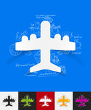 Plane paper sticker with hand drawn elements Royalty Free Stock Photo