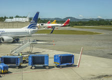 Plane Parked at Airport in Medellin Royalty Free Stock Image