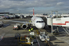 Plane parking at gate Royalty Free Stock Photo