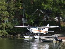 Seaplane parking by the lake royalty free stock images