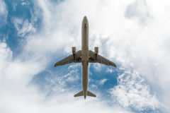 Plane. Passenger airplane in the blue sky stock images