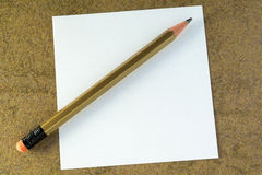 Plane pencil and empty white sheet of paper Royalty Free Stock Photos