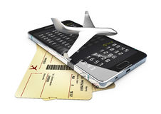 A plane on phone and tickets for business trip travel or vacation journey isolated 3d illustration. A plane on phone and tickets for business trip travel or Stock Images