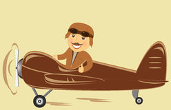 Plane with pilot showing thumb up Royalty Free Stock Images