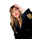 Plane pilot woman Royalty Free Stock Image