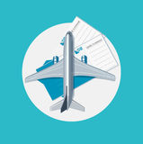Plane with plane tickets flat design vector Stock Image