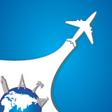 Plane and planet royalty free illustration
