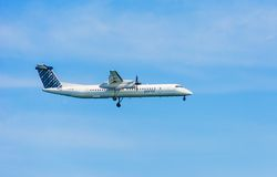 Plane from Porter Airlines Propeller Royalty Free Stock Images