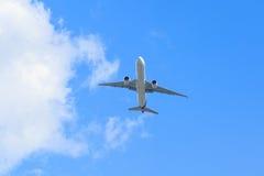 Plane prepare landing on blue sky Royalty Free Stock Image