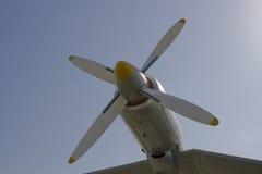 Plane propeller. Blue sky background Stock Image