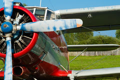 Plane with propeller closeup outdoors Stock Photography