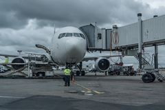 The plane is at the pull-out arm at the airport. Preparation for boarding passengers. royalty free stock photography