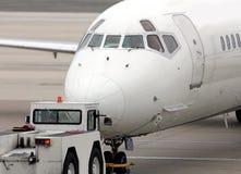 Plane pushed back Stock Photo